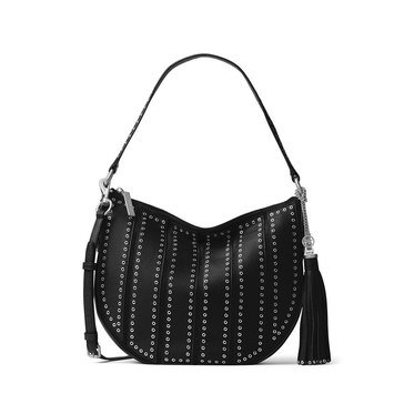 Michael Kors Brooklyn Grommet Medium Convertible Hobo Black
