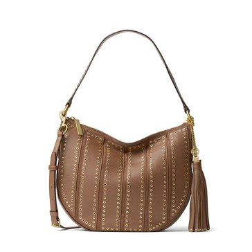 Michael Kors Brooklyn Grommet Medium Convertible Hobo Dk Caramel