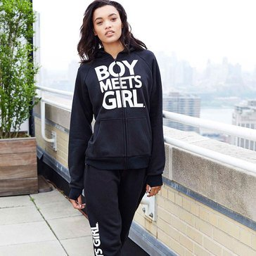 Boy Meets Girl Verbiage Hoodie in Black
