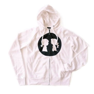 Boy Meets Girl Silhouette Circle Hoodie in White