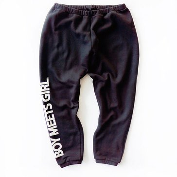 Boy Meets Girl Verbiage Sweatpant in Black