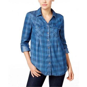 Style & Co Women's Percy Denim Plaid Shirt in Percy Plaid