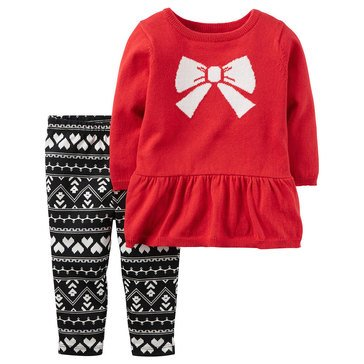 Carter's Baby Girls' Bow Sweater & Pants 2-Piece Set
