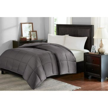 Seersucker Down Alternative Comforter, Grey - Full/Queen