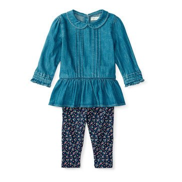 Ralph Lauren Baby Girls' 2-Piece Peplum Top & Legging Set