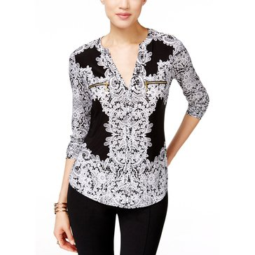 I.N.C. International Concepts Women's Women's Long Sleeve Zip Pocket Printed Shirt in Placed Lace