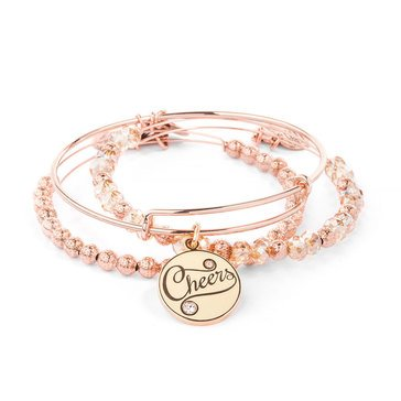 Alex and Ani Color Infusion Champagne Cheers Set Of 3  Rose Gold Tone
