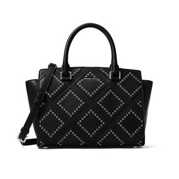 Michael Kors Diamond Grommet Selma Medium Top Zip Satchel Black