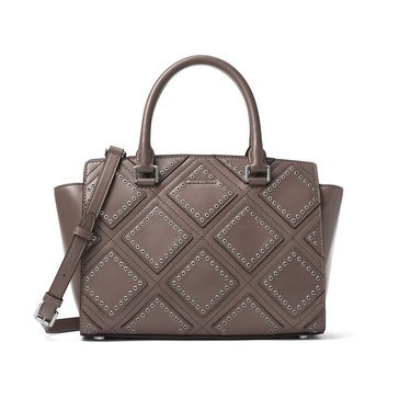 Michael Kors Diamond Grommet Selma Medium Top Zip Satchel Cinder