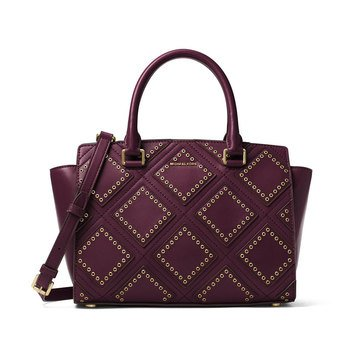 Michael Kors Diamond Grommet Selma Medium Top Zip Satchel Plum