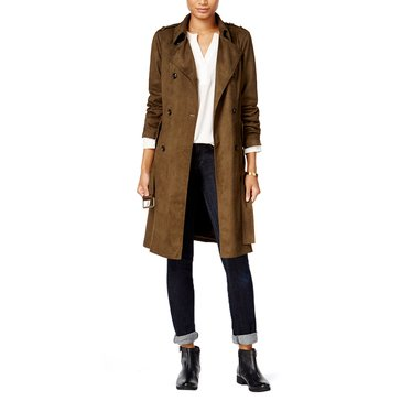 Maison Jules Women's Faux Sueded Double Trench Coat in Olive