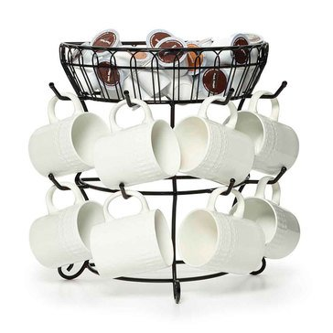 Mikasa 2-Tier Flatback Basket with Mug Tree