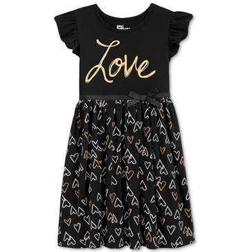 Epic Threads Little Girls' Heart Print Knit Skater Dress
