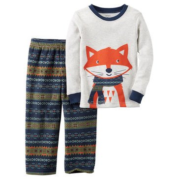 Carter's Baby Boys' 2-Piece Pajamas, Fox Fairisle