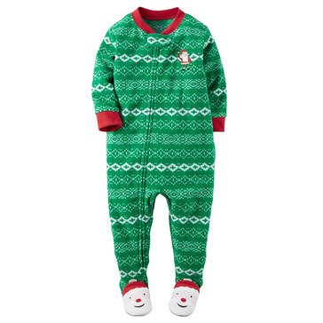 Carter's Baby Boys' Christmas 1-Piece Fleece Pajamas, Santa