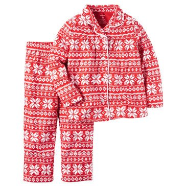 Carter's Big Girls' Christmas 2-Piece Fairisle Fleece Coat Pajama