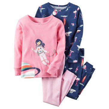 Carter's Big Girls' 4-Piece Cotton Space Pajama Set
