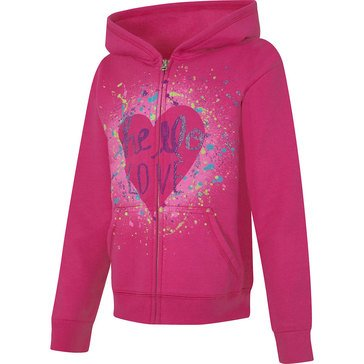 Hanes Big Girls' Pink Heart Fleece Zip Hoodie, Small
