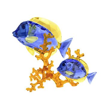 Swarovski Crystal Living Doctorfish Couple
