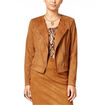 Thalia Zipper Detail Suede Moto Jacket