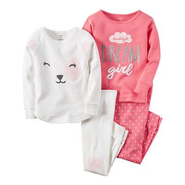 Carter's Little Girls' 4-Piece Cotton Pajama Set, Bear Dream