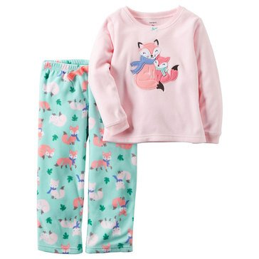 Carter's Little Girls' 2-Piece Fleece Pajama Set, Fox