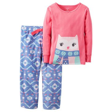 Carter's Little Girls' 2-Piece Fleece Pajama Set, Aztec Owl