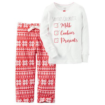 Carter's Little Girls' Christmas 2-Piece Knit/Fleece Pajamas, Checklist