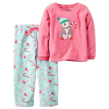 Carter's Little Girls' Christmas 2-Piece Knit/Fleece Pajamas, Penguin