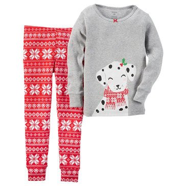 Carter's Little Girls' Christmas 2-Piece Pajama Set, Dog Fairisle
