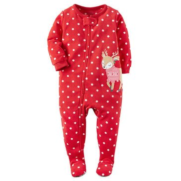 Carter's Little Girls' Christmas Fleece Pajamas, Dot Reindeer