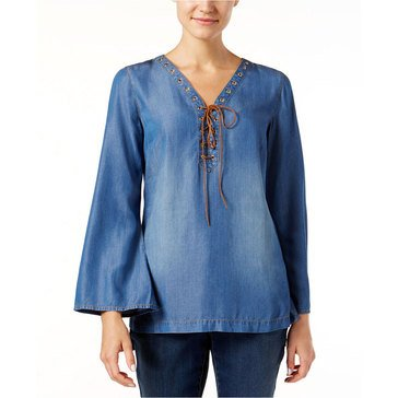 INC International Concepts Denim Lace Up Neck Bell Sleeve Tunic