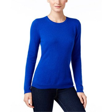 Charter Club Cashmere Long Sleeve Crewneck Pullover Sweater in Bright Blue