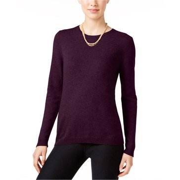 Charter Club Cashmere Long Sleeve Crewneck Pullover Sweater in Black Cherry