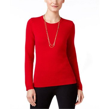 Charter Club Cashmere Long Sleeve Crewneck Pullover Sweater in New Red Amore