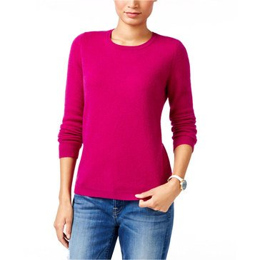 Charter Club Cashmere Long Sleeve Crewneck Pullover Sweater in Bright Cerise