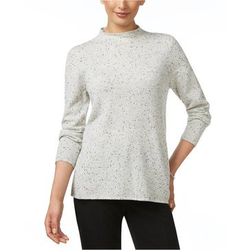 Charter Club Long Sleeve Donnegal Mock Neck Pullover