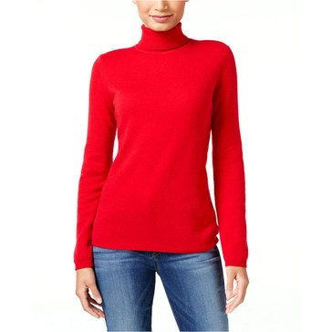 Charter Club Cashmere Long Sleeve Turtleneck Pullover in New Red Amore