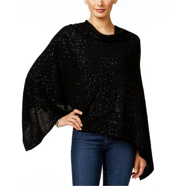 Charter Club Cashmere Poncho With Allover Sequin in Classic Black