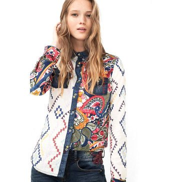 Desigual Long Sleeve Button Down Shirt with Pockets