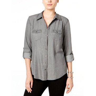Style & Co Women's Solid 2 Pocket Denim Shirt in Grey Wash