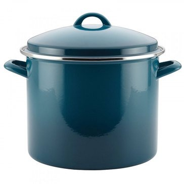 Rachael Ray 12 Quart Stock Pot with Enamel On-Steel Lid, Marine Blue