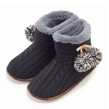 PJ Couture Cable Knit Bootie Black