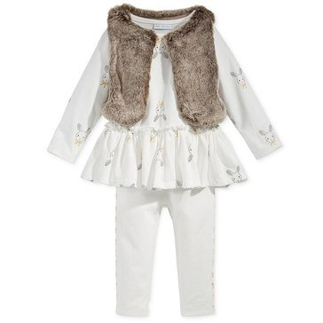 First Impressions Baby Girls' Fur Vest Set, Bunny