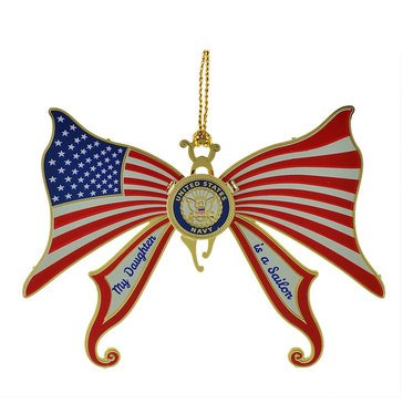 USN My Daughter Is A Sailor Butterfly Flag Ornament