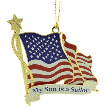 USN My Son Is A Sailor Flag Ornament