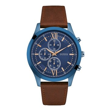 Guess Men's Brown Leather Strap Watch, 43mm