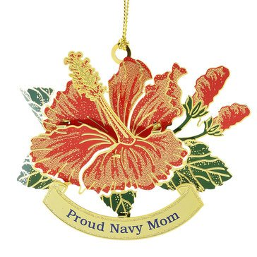 Proud Navy Mom Hibiscus Ornament