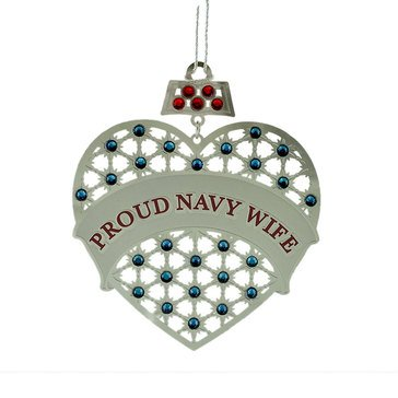 Proud Navy Wife Heart & Stones Ornament