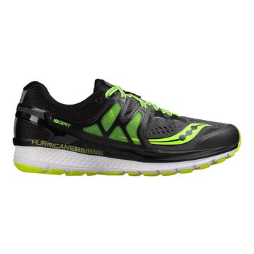 Saucony Hurricane ISO 3 (Wide) Men's Running Shoe Grey/ Black/ Citron